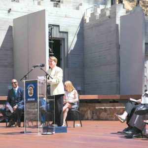Los Angeles County Supervisor Sheila Kuehl, 3rd District, joined officials for the unveiling of the renovated Ford Theatres on July 14. (photo by Gennia Cui, Future Collective)