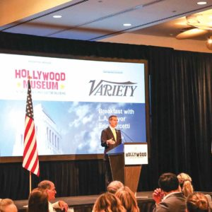 Garcetti spoke in front of the Hollywood Chamber of Commerce at the Loews Hollywood Hotel last Thursday.  (photo courtesy of the mayor's office)