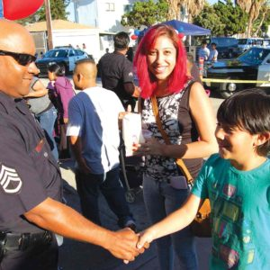 Hollywood Division Sgt. Darrell Davis met with residents during a previous National Night Out. (photo by Edwin Folven)