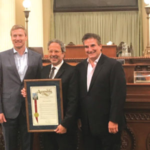 Board Chairman Bobby Ralston, Assemblyman Richard Bloom and Executive Director Richard Ayoub were on hand to accept the award. (photo courtesy of Project Angel Food)
