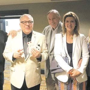 """Master magician Bernie Shine (second from left) was joined at a recent """"Magic Salon"""" by Comedy Central's """"RoastMaster General"""" Jeff Ross (left), """"Hollywood Squares"""" host Peter Marshall and wife Laurie, and Alison Martino. (photo courtesy of Bernie Shine)"""