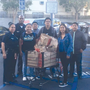 Students shopped with Wilshire Division police officers at Stapes on Wilshire Boulevard. (photo courtesy of Sgt. Cleon Joseph)