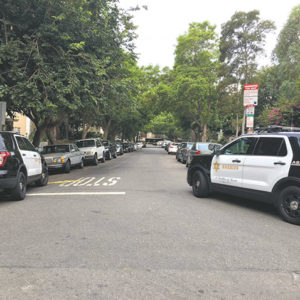 Deputies cordoned off a portion of De Longpre Avenue in West Hollywood on Aug. 5 during a standoff in which a man entered an apartment that wasn't his and refused to come out. (photo courtesy of the LASD)