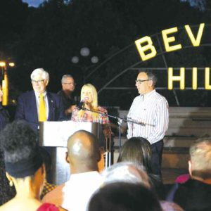 Beverly Hills Councilmen Robert Wunderlich (from left) Julian Gold, Mayor Lili Bosse and Councilman Les Friedman commence this month's lineup of events for BOLD (Beverly Hills Open Later Days). The citywide initiative championed by Bosse, is a collaborative partnership with the city, Rodeo Drive Committee, the Beverly Hills Chamber of Commerce and the Beverly Conference and Visitors Bureau. (courtesy of the city of Beverly Hills)