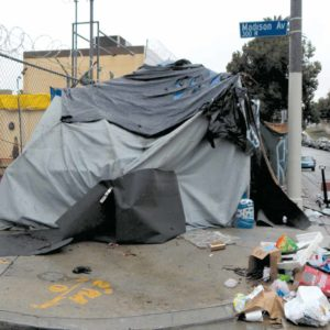 Homeless encampments have become increasingly common throughout the city. (photo by Edwin Folven)