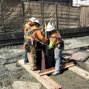 Crews are continuing with piling and other construction along Wilshire Boulevard as part of the Purple Line Extension project. (photo courtesy of Metro)