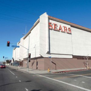 A mixed-use development is moving forward at the former Sears department store property on Santa Monica Boulevard. The Los Angeles City Council recently approved funding for a traffic study. (photo by Edwin Folven)