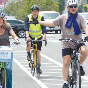 Cyclists joined then-West Hollywood Mayor Lauren Meister at an event in June 2016 announcing new bike lanes for WeHo Pedals riders. (photo by Edwin Folven)