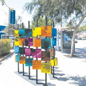 """Kaleidoscope,"" by Daveed Kapoor and Rob Berry, located on Santa Monica Boulevard, is the latest micro-park in West Hollywood. Pedestrians are encouraged to take photographs of the artwork and post them on social media. (photo courtesy of the city of West Hollywood)"