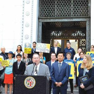 Councilman Paul Koretz, 5th District, stood at a podium in front of City Hall to support legislation pending in the state Assembly that would accelerate California's renewable energy efforts. (photo courtesy of the 5th Council District Office)