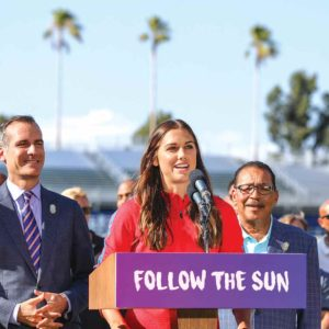 Mayor Eric Garcetti (from left) U.S. Women's Soccer player Alex Morgan, City Council President Herb Wesson and former Olympic athlete Janet Evans made the announcement that L.A. will host the 2028 Summer Games. (photo courtesy of the mayor's office)