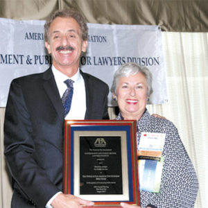 Los Angeles City Attorney Mike Feuer recently accepted a Hodson Award from Pauline Weaver, chair of the Government and Public Sector Lawyers Division for the American Bar Association. (photo courtesy of the Los Angeles City Attorney's Office)