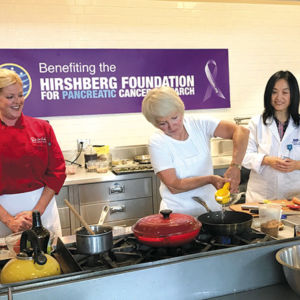From left, Chef Claire Hansen joined Agi Hirshberg andDr. Zhaoping Li, of UCLA, during a cooking class for people with pancreatic cancer. (photo courtesy of the Hirschberg Foundation)