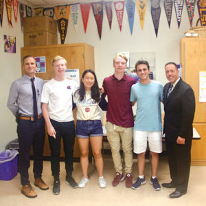 BHHS Principal Mark Mead with National Merit Scholarship Semifinalists Brian Harward, Jamie Kim, Jason Harward, Jonathan Artal and BHUSD Superintendent of Schools Dr. Michael Bregy. (photo courtesy of Beverly Hills School District)