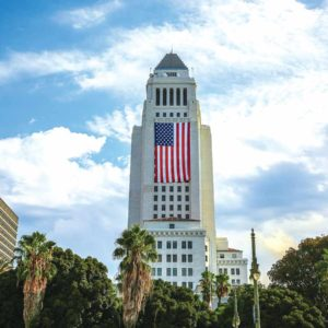 An American flag was draped on the side of Los Angeles City Hall to commemorate the 16th anniversary of the 9/11 terrorist attacks in New York, Washington, D.C. and Pennsylvania. (photo courtesy of the Los Angeles mayor's office)