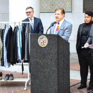Los Angeles City Controller Ron Galperin, at the podium, joined city officials including Councilman Mitch O'Farrell, 13th District, right, to introduce a clothing drive for homeless LGBTQ youth. (photo courtesy of the controller's office)