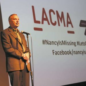 Kirk Moody, whose wife Nancy Paulikas disappeared last Oct. 15, spoke at the Los Angeles County Museum of Art on Sept. 23 before screenings of two films about people struggling with Alzheimer's disease. (photo courtesy of Kirk Moody)