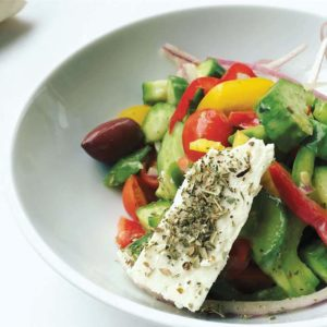 The Greek Salad is made with Persian cucumbers, tomatoes, red onion, bell peppers and Kalamata olives, dressed with olive oil, sea salt, lemon, oregano and pepper. (photo courtesy of Ulysses Voyage)