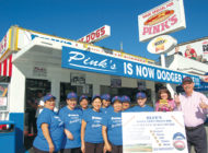 Pink's goes blue to celebrate Dodgers playing in the World Series