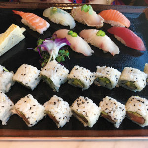 The omakase sushi plate has 16 pieces of sushi rolls and 7 pieces of nigiri. (photo by Jill Weinlein)