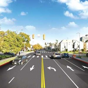 A rendering of the intersection of Sixth Street and Hauser Boulevard shows the changes proposed in one of the options to improve safety on the street. Another plan would create one lane in each direction, a center turn lane and bike lanes on each side. (photo courtesy of the 4th Council District office)