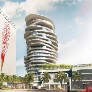 A 19-story hotel with a distinctive architectural design is being considered at 9034 Sunset Blvd. (photo courtesy of the Charles Company)