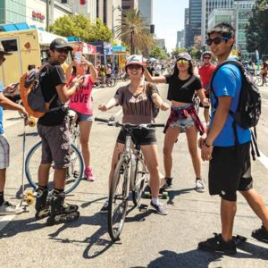 Participants have traveled down Wilshire Boulevard during past events. (photo courtesy of CicLAvia)