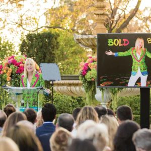Beverly Hills Mayor Lili Bosse addressed residents at Greystone Mansion last week, highlighting upcoming BOLD events for the holidays, her #BHHealthyCity program and the challenges the city faces. (photo courtesy of DVR Productions)