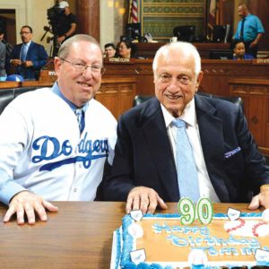 Councilman Paul Koretz, 5th District,(left) helped the council welcome Tommy Lasorda (photo courtesy of the 5th Council District Office)