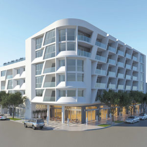 A rendering shows how the building would be configured near Beverly Boulevard and Edinburgh Avenue. (photo courtesy of PLUSARCH. INC.)