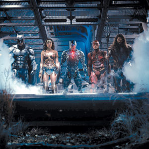 The team assembles, including Cyborg (Ray Fisher) and Aquaman (Jason Momoa). (photo courtesy of Warner Bros. Pictures)
