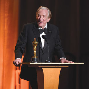 Honorary Award recipient Donald Sutherland accepts the award at the 2017 Governors Awards in The Ray Dolby Ballroom at Hollywood & Highland Center in Hollywood. (photo courtesy Aaron Poole/ ©A.M.P.A.S.)