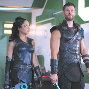 "Tessa Thompson stars as Valkyrie and Chris Hemsworth returns as the title character in ""Thor: Ragnarok,"" the latest film featuring the superhero from Norse mythology. (photo courtesy of Marvel Studios)"
