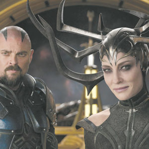 "Karl Urban appears as Skurge and Cate Blanchett stars as the villainous Hela in Marvel Studios' ""Thor: Ragnarok."" (photo courtesy of Marvel Studios)"