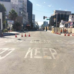 Wilshire Boulevard has been closed intermittently during Purple Line Extension construction, including at this project site near Wilshire and La Cienega boulevards. (photo courtesy of Metro)