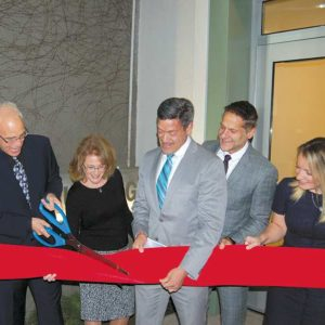 West Hollywood council members John Heilman, Lauren Meister, John Duran, John D'Amico and Lindsey Horvath cut the ribbon. (photo by Edwin Folven)