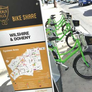 The Wilshire and Doheny station is one of several throughout the city where riders enrolled in the program can pick up and drop off bicycles. (photo by Luke Harold)