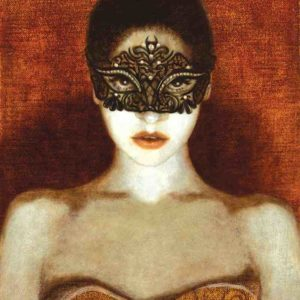 """""""Mask Girl"""" is one of the works featured in the exhibition. (photo courtesy of La Luz de Jesus)"""