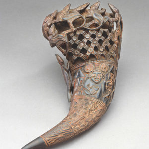 A 19th century drinking horn made from a dwarf buffalo's horn, by an unknown artist, is on display. (photo by Don Cole)