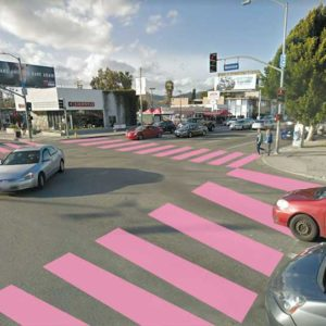 The Mid City West Community Council created a rendering showing how the pink crosswalks may be configured at Melrose and La Brea avenues, near Pink's Hot dogs. (photo courtesy of Mehmet Berker)