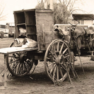 Photograph of a wagon on Tracy Ranch, California, circa 1977. (photo courtesy of Autry Museum)