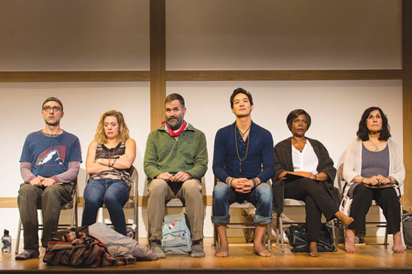 "From left, Ben Beckley, Brenna Palughi, Connor Barrett, Edward Chin-Lyn, Cherene Snow and Socorro Santiago star in ""Small Mouth Sounds."" (photo by T. Charles Ericsson)"