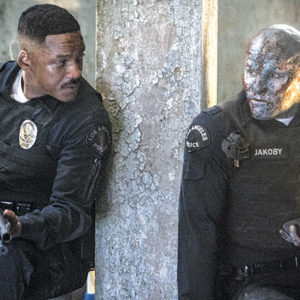 """Will Smith stars as Daryl Ward and Joel Edgerton appears as Nick Jakoby in """"Bright,"""" a new buddy cop/fantasy film by director David Ayers and writer Max Landis.(photo courtesy of Netflix)"""