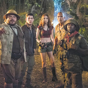 """Jack Black, Nick Jonas, Karen Gillan, Dwayne Johnson and Kevin Hart star in """"Jumanji: Welcome to the Jungle,"""" a modern adaptation of the classic 1995 film. (photo courtesy of Sony Pictures)"""