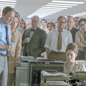 "The Post's staff learns The New York Times has been charged by the Department of Justice in the new Steven Spielberg film, ""The Post."" (photo courtesy of Fox Pictures)"