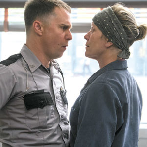 "Frances McDormand stars as Mildred, and Sam Rockwell appears as Officer Dixon in ""Three Billboards Outside Ebbing, Missouri."" (photo courtesy of Fox Searchlight)"