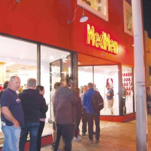 Customers stood in line Tuesday in front of MedMen WeHo, which was one of four businesses that began selling recreational pot on Jan. 2 in West Hollywood. (photo by Edwin Folven)