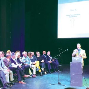 Beverly Hills Unified School District Superintendent Michael Bregy addressed parents, students and faculty members during a meeting last week. (photo by Luke Harold)
