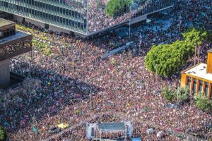 Women's March participants filled the streets of downtown L.A. in solidarity with marchers across the country in January 2017. (photo courtesy of the mayor's office)