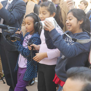 Students at Charles White Elementary tested out their journalism skills for the grand opening of the LACMA art gallery on the school's campus.  (photo courtesy of BTBLA)